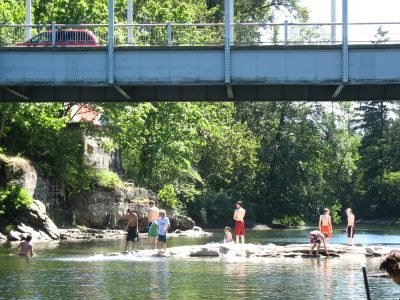 Cedar Bridge, Nanaimo River swimmers