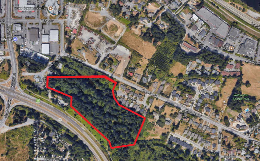 Map showing approximate location of townhomes at 4066 Old Slope Place, Diver Lake area, Nanaimo