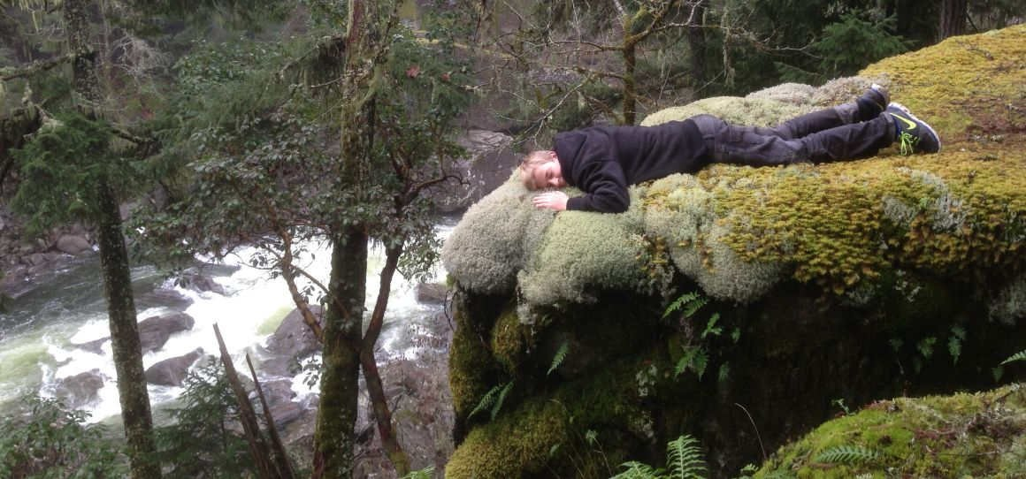 Mossy bed over Nanaimo River