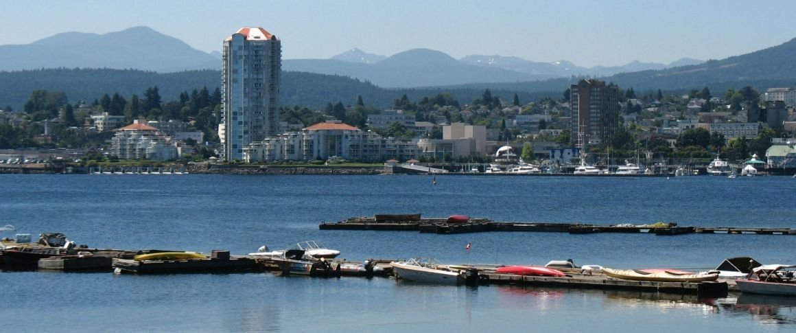 View of Nanaimo across the harbour from Protection Island community docks.