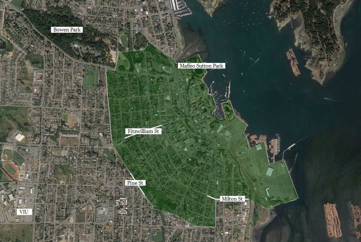 Old City Nanaimo boundary location map with landmarks