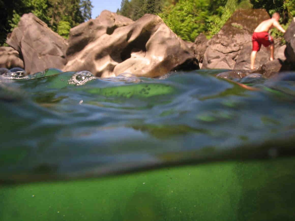 Gently churning water at Nanaimo River