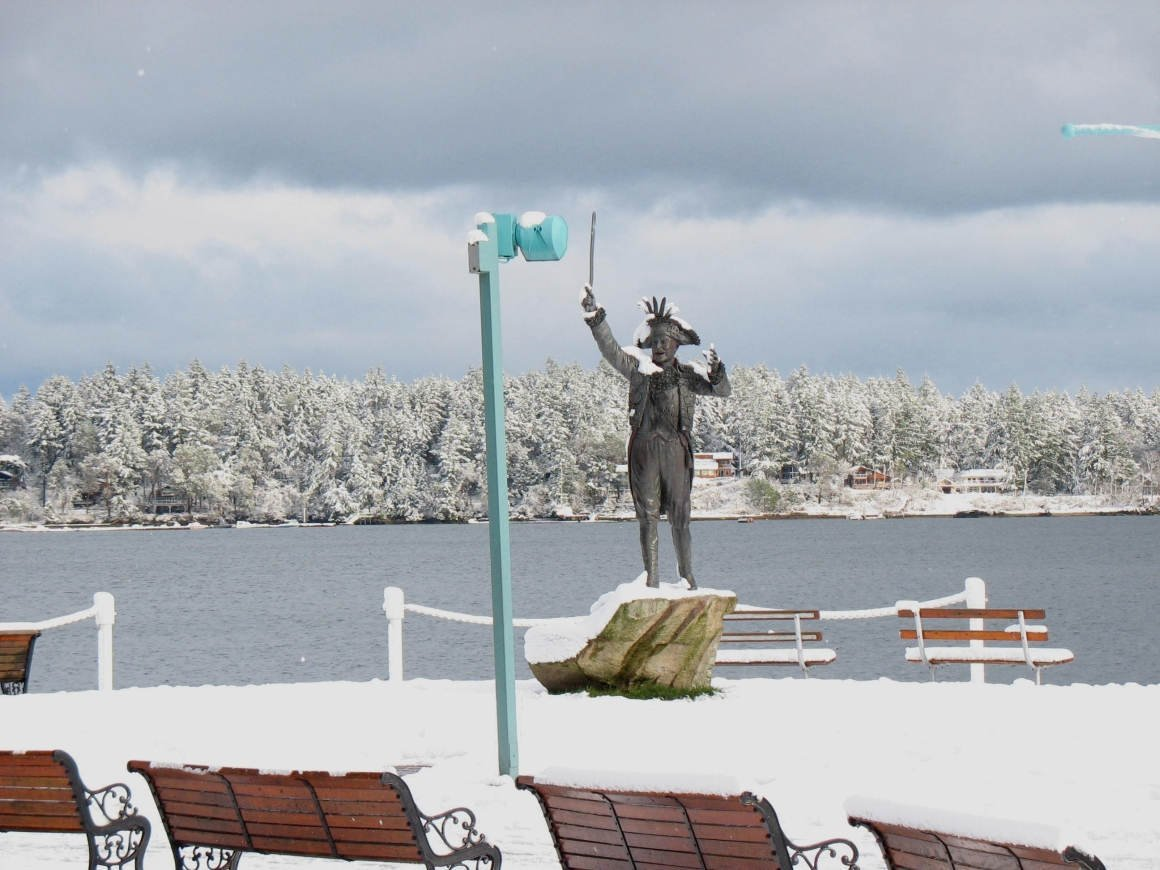Frank Ney statue and snow