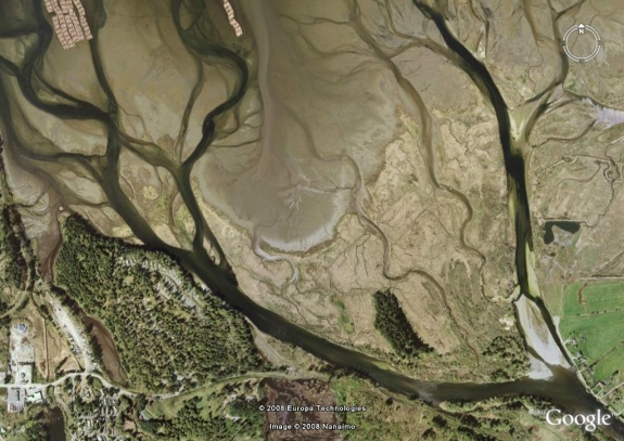 Satellite Image of Nanaimo River Estuary from Google Earth
