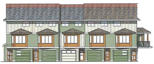 215 Sabiston concept rendering, front view - Nanaimo townhome development