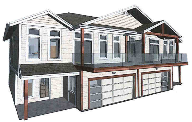 Sketch of 2-level townhome planned for 4066 Old Slope Pl