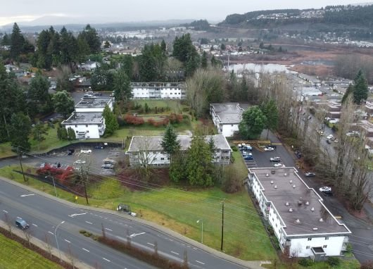 Aerial view of the five buildings at Bowen Terraces, Nanaimo