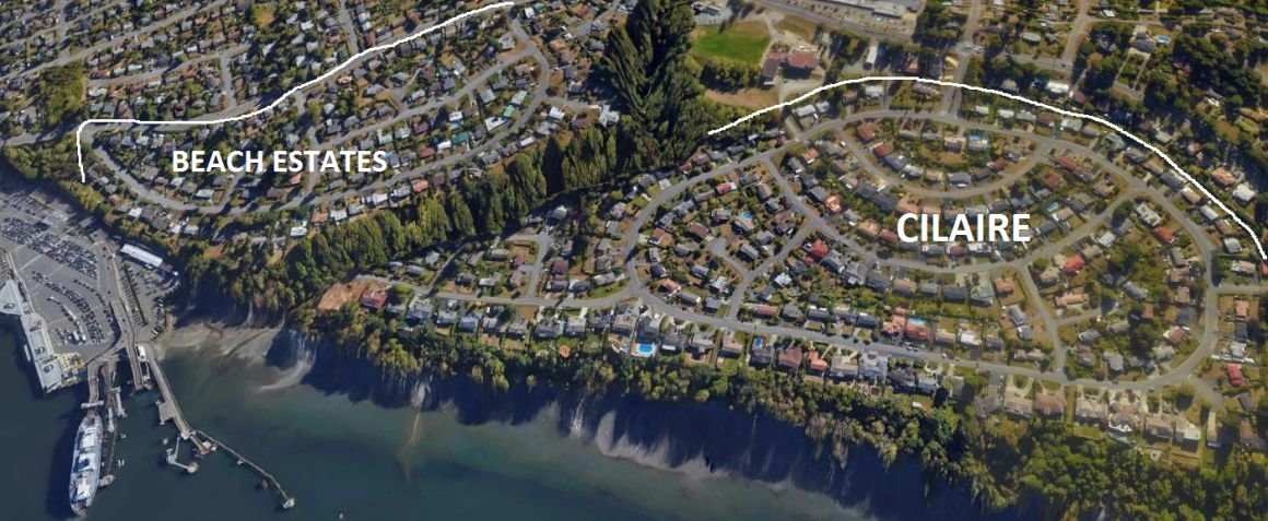 Aerial view of Cilaire and Beach Estates, Nanaimo