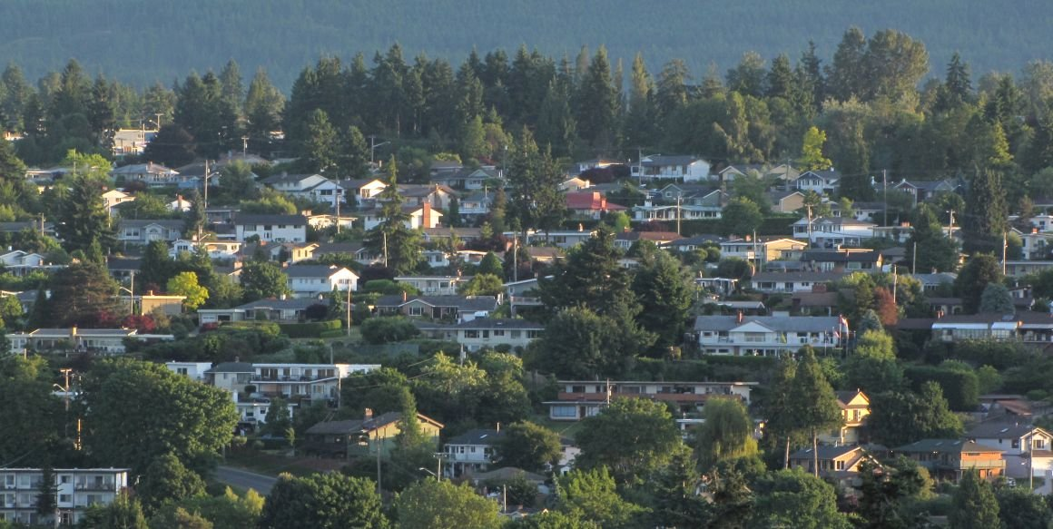 View of dozens of Departure Bay homes among the trees