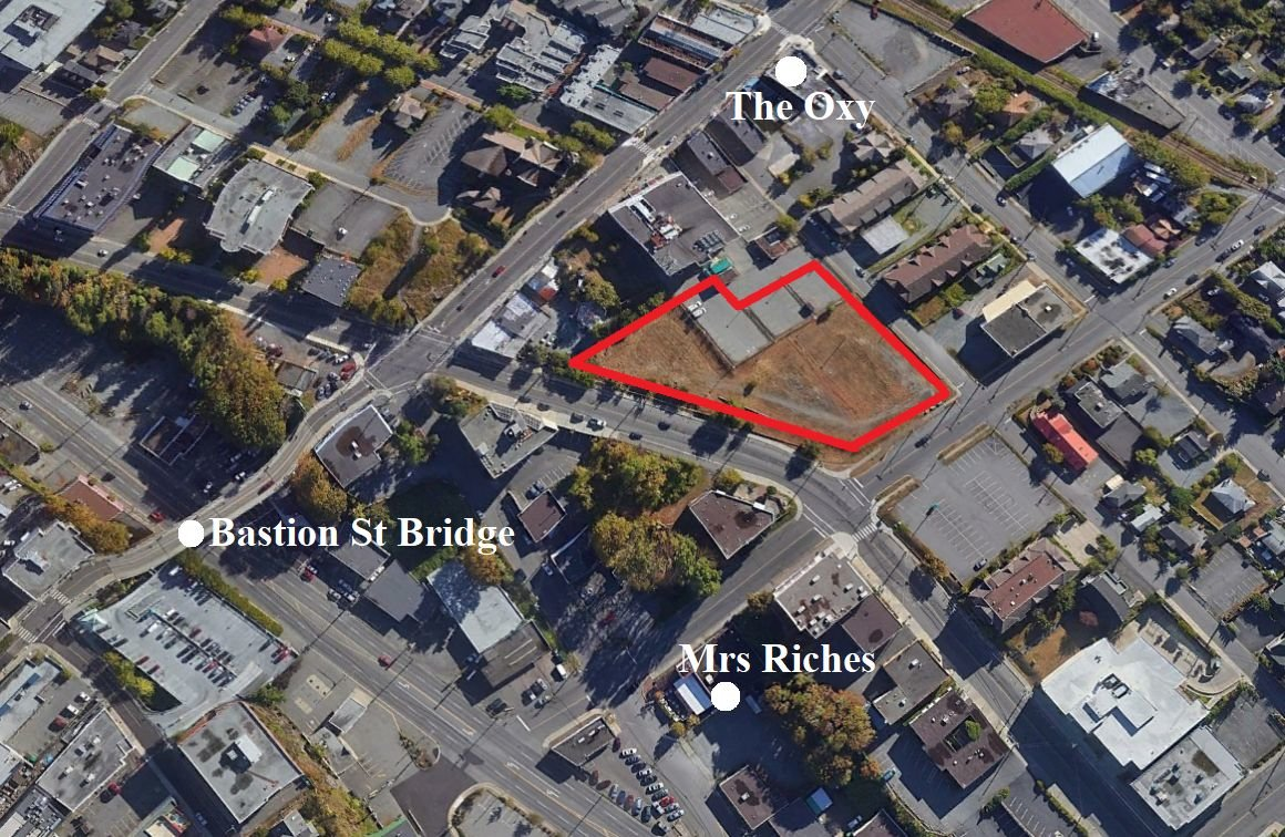 Aerial view of site of proposed Telus Living condos in downtown Nanaimo