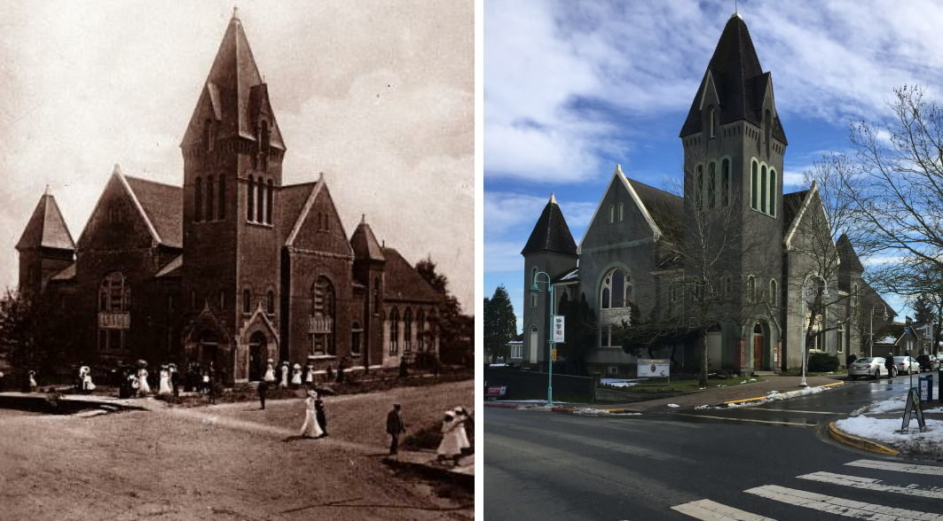 St Andrews Church, Nanaimo, past and present from the same vantage